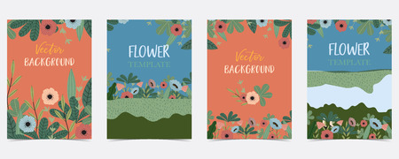 Blue,orange,green hand drawn summer postcard with flower and leaf Ilustração