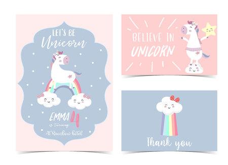 Pink blue hand drawn postcard with rainbow,star,cloud,unicorn and rain