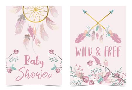 Biglietto d'invito per baby shower in oro rosa con geometria