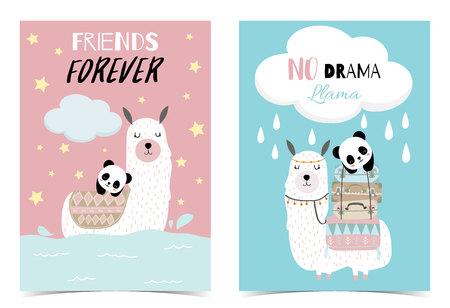 Blue pink hand drawn cute card Ilustração