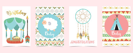 pastel card with bed,sheep,dreamcatcher