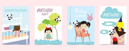 pastel card with bear,panda,duck