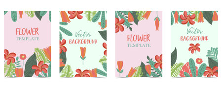 Blue,pink,green hand drawn summer postcard with flower and leaf
