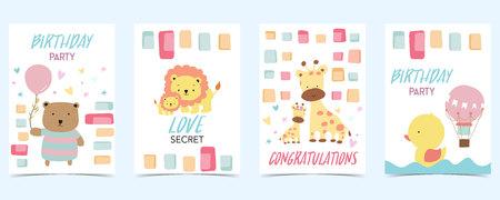 pastel card with bear,lion,giraffe