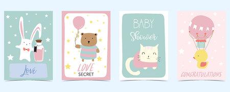 pastel card with bear,rabbit,cat