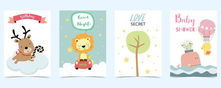 pastel card with raindeer,lion;tree;whale
