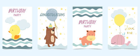 pastel card with duck,bear,whale