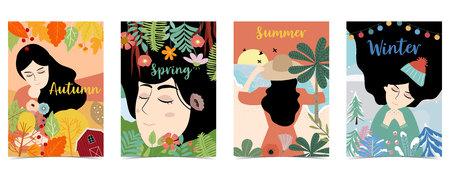 Blue,orange,green hand drawn seasonal postcard with women,flower and leaf