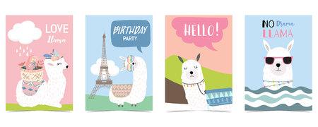 pastel card with llama,eiffel tower