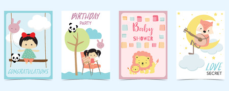 pastel card with girl,tree,lion,fox