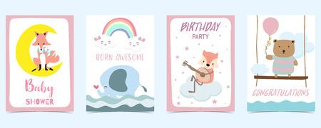 pastel card with bear,fox,elephant