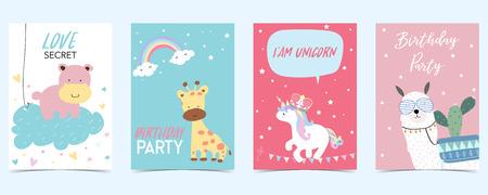 pastel card with unicorn,llama,giraffe
