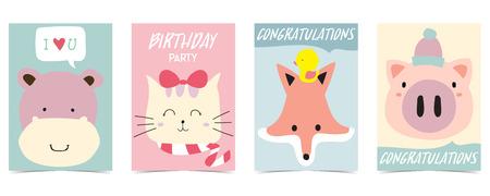 pastel card with hippopotamus,fox,cat,pig Ilustração