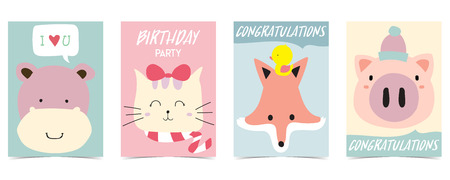 pastel card with hippopotamus,fox,cat,pig Illustration
