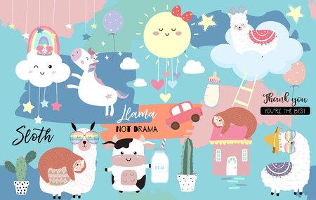 Colorful hand drawn cute card with llama, rainbow,unicorn,sloth,cloud,sun,cow.No drama llama