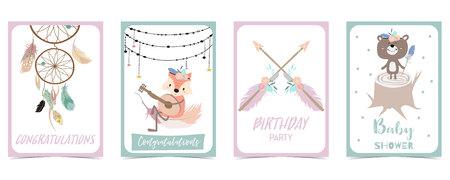 pastel card with feather,bear,fox Ilustração