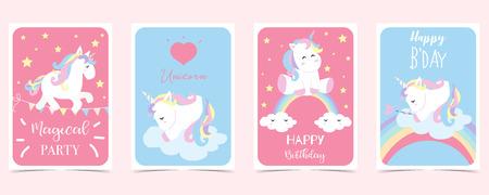 pastel card with unicorn,rainbow,heart