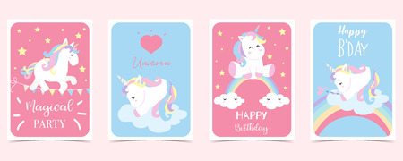 pastel card with unicorn,rainbow,heart