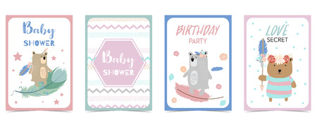 pastel card with feather,bear,wreath