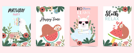 pastel card with sloth,tree,flower