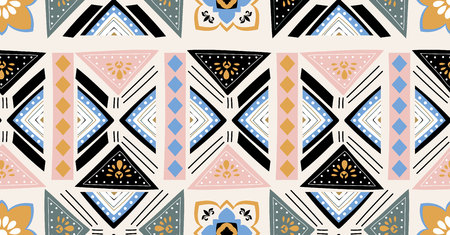 pink green blue black geometric seamless pattern in African style with square,tribal,circle shape Ilustração