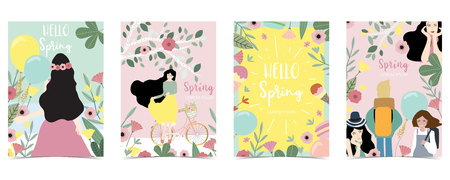 Yellow,green,pink pastel holiday with women,daughter,flower and leaf