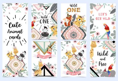 Green birthday card with tiger,parrot, giraffe, zebra and fox