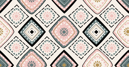pink green black geometric seamless pattern in African style with square,tribal,circle shape Ilustração