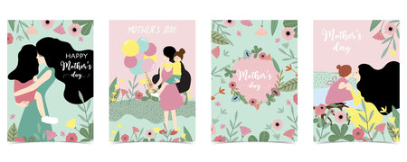 Yellow,green,pink pastel Mothers Day with women,daughter,flower and leaf Ilustração