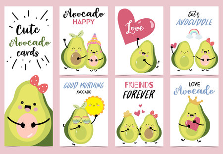 Collection of avocado set with heart,rainbow,sun,horn and crown