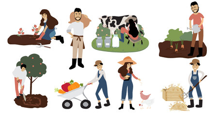 Farmer character design with milking cow,feeding chicken, people,woman,man,tree and hay