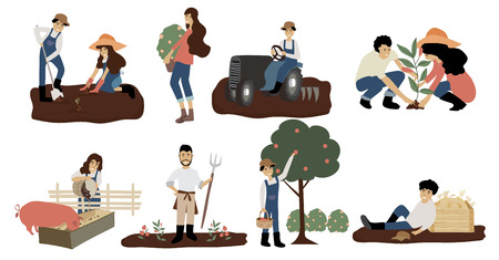 Farmer character design with worker on tractor,feeding pig,carrying fruits,people,woman,man,tree,carrying fruits and hay Ilustração