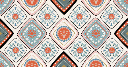 orange green black geometric seamless pattern in African style with square,tribal,circle shape