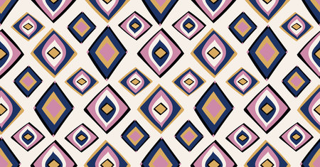 pink yellow black geometric seamless pattern in African style with square,tribal shape