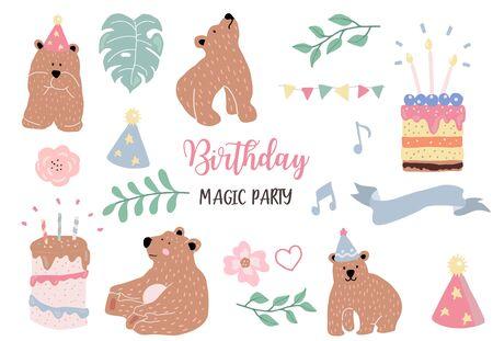 pastel birthday set illustration vector Illustration