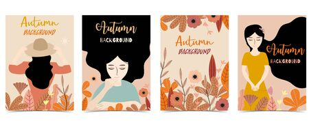 Collection of autumn background set with woman, leaves, flower. Vector illustration for invitation, postcard and sticker. Editable element