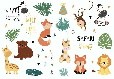 Safari object set with fox,giraffe,zebra,bear,monkey,leaves. illustration for sticker,postcard,birthday invitation.Editable element Foto de archivo - 128692386