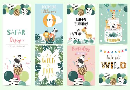 Collection of safari background set with giraffe,balloon,zebra,lion.Editable vector illustration for birthday invitation,postcard and sticker.Wording include wild and free Foto de archivo - 128692383