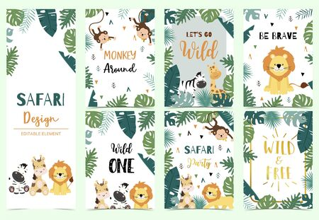 Green collection of safari background set with lion,zebra,giraffe,monkey.Editable vector illustration for birthday invitation,postcard and sticker.Wording include wild and free Foto de archivo - 128692403