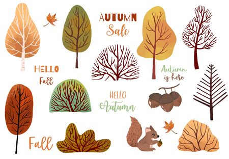 Autumn object set with dry tree,squirrel,acorn,leaves.Illustration for sticker,postcard,invitation,element website.Included hello autumn and autumn sale wording