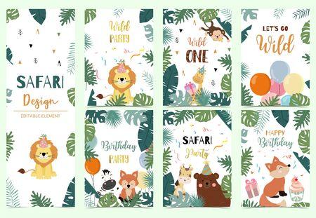 Green collection of safari background set with lion,fox,bear,giraffe,monkey.Editable vector illustration for birthday invitation,postcard and sticker.Wording include wild one Foto de archivo - 128692405