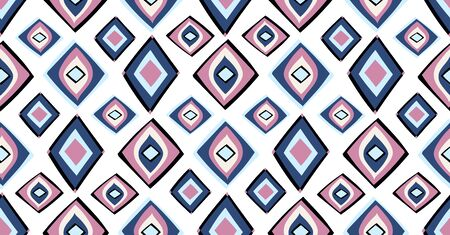 Blue pink black geometric seamless pattern in African style with square,tribal,circle shape