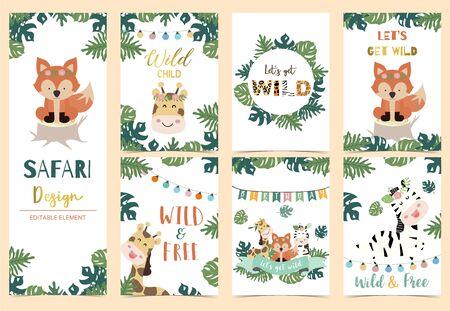 Collection of safari background set with head giraffe,fox,zebra,jungle.Editable vector illustration for birthday invitation,postcard and sticker.Wording include wild and free