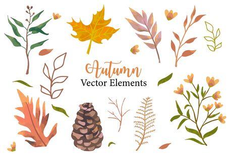Autumn object set with dry tree,flower,acorn,leaves.Illustration for sticker,postcard,invitation,element website 일러스트