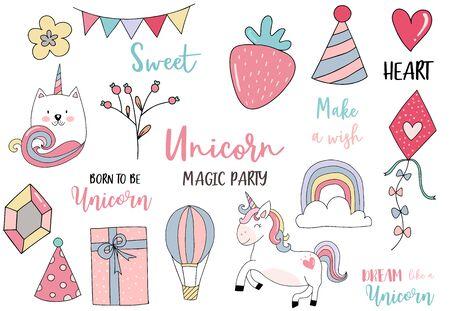 pastel unicorn set with unicorn,flower,rainbow,caticorn,diamond illustration for sticker,postcad,birthday invitation 일러스트
