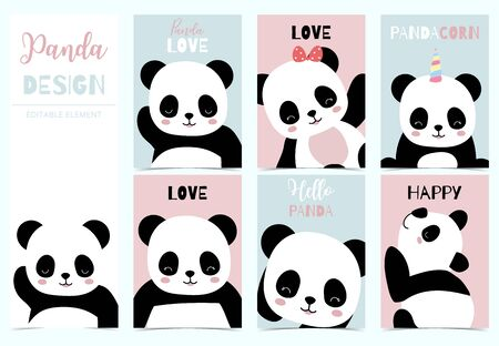 Collection of birthday background set with panda.Editable vector illustration for birthday invitation,postcard and sticker.Wording include hello