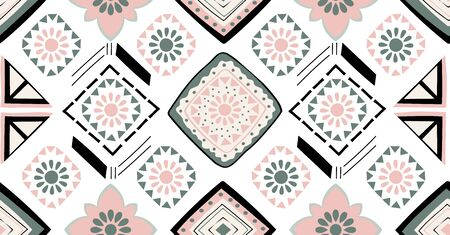 Green pink black geometric seamless pattern in African style with square,tribal,circle shape 일러스트