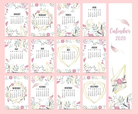 Doodle pastel boho calendar set 2020 with feather,gold geometric,heart,flower,leaves for children.Can be used for printable graphic.Editable element 일러스트