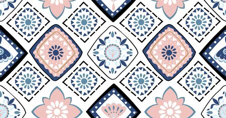 Blue pink geometric seamless pattern in African style with square,tribal,circle shape