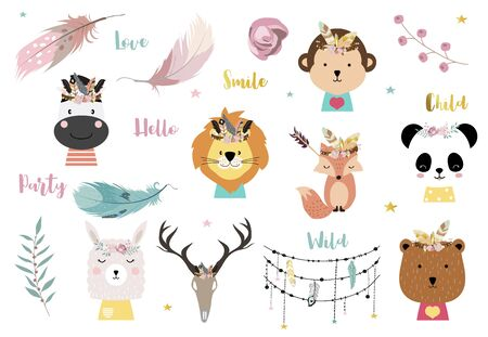 Pastel bohemian animal set with panda,llama,bear,fox illustration for sticker,postcard,birthday invitation